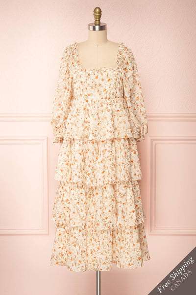 Sophie-Anne Beige Floral Layered Midi Dress | Boutique 1861 front view