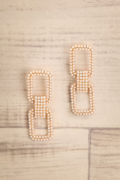 Sparti Golden & Pearl Pendant Earrings | La Petite Garçonne 1