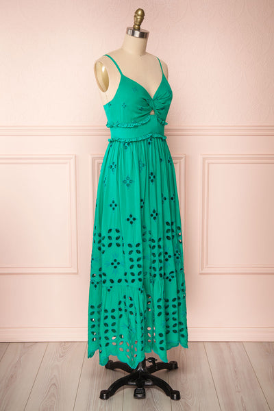 Spirea Turquoise Openwork Midi Dress | Boutique 1861 side view