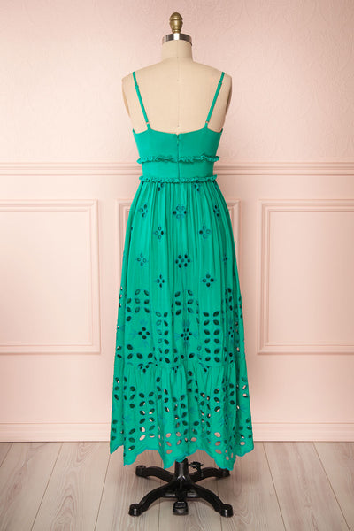 Spirea Turquoise Openwork Midi Dress | Boutique 1861 back view