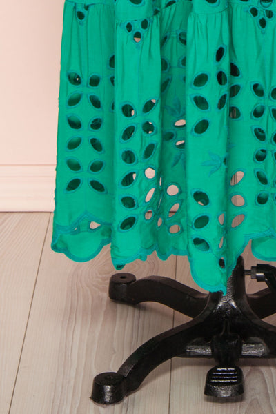 Spirea Turquoise Openwork Midi Dress | Boutique 1861 bottom close-up