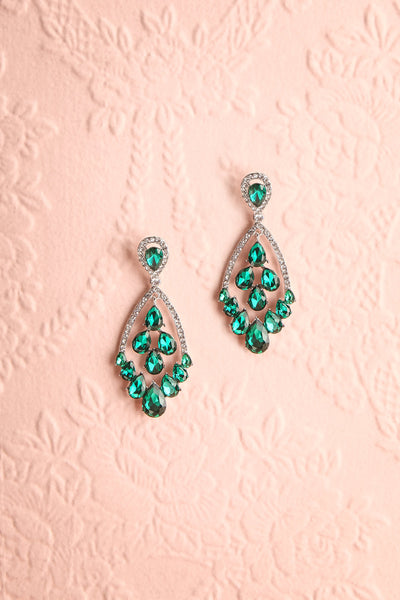 Splendor Clear & Green Crystal Pendant Earrings | Boutique 1861