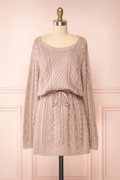 Steffie Taupe Drawstring Knitted Dress | Boutique 1861 front view