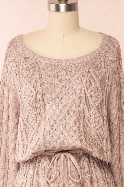 Steffie Taupe Drawstring Knitted Dress | Boutique 1861 front close-up