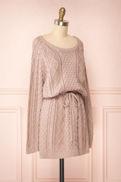Steffie Taupe Drawstring Knitted Dress | Boutique 1861 side view