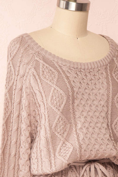 Steffie Taupe Drawstring Knitted Dress | Boutique 1861 side close-up