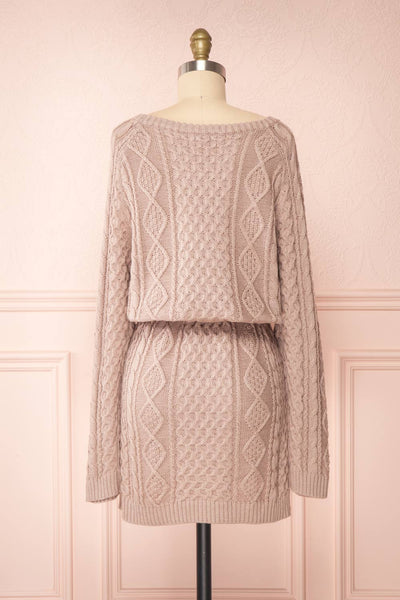 Steffie Taupe Drawstring Knitted Dress | Boutique 1861 back view