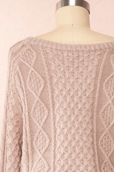 Steffie Taupe Drawstring Knitted Dress | Boutique 1861 back close-up