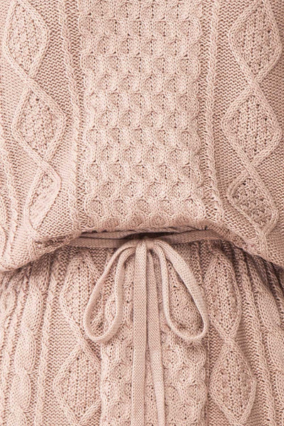 Steffie Taupe Drawstring Knitted Dress | Boutique 1861 fabric