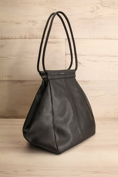 Stella Black Faux-Leather Pixie Mood Tote Bag side view | La Petite Garçonne