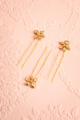 Steropa Set of Golden Hair Pins with Leaves | Boudoir 1861
