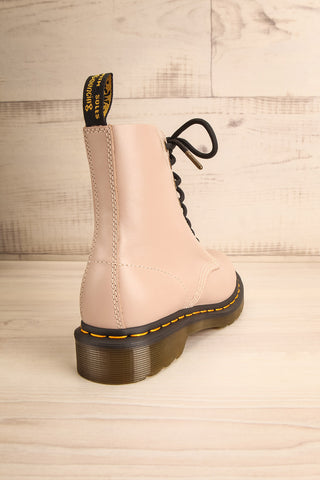 Stourbridge Taupe Leather Dr. Martens Boots back view | La Petite Garçonne