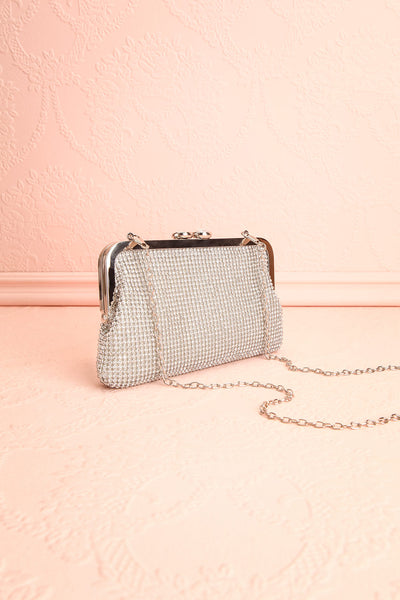 Strathspey Argent Silvery Snap Clutch Bag with Crystals | Boudoir 1861 1