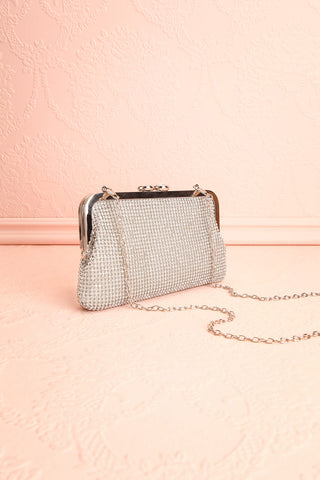 Strathspey Argent Silvery Snap Clutch Bag with Crystals | Boudoir 1861