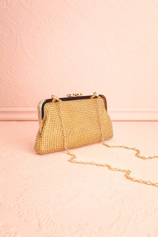 Strathspey Or Golden Snap Clutch Bag with Crystals | Boudoir 1861