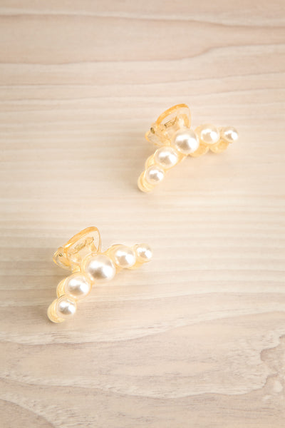 Sufferre Set of 2 Clear Pearl Studded Hair Clips | La Petite Garçonne