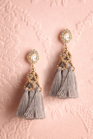 Supersum Crystal & Grey Tassel Pendant Earrings | Boutique 1861