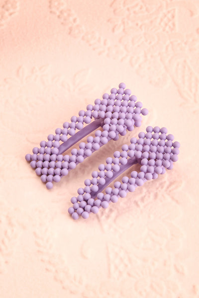 Surgit Lilas Lilac Matte Beaded Hair Clips | Boutique 1861
