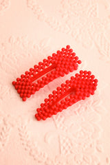 Surgit Rosier Red Matte Beaded Hair Clips | Boutique 1861 1