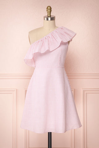 Sylviane Pink & White Striped A-Line Dress | Boutique 1861