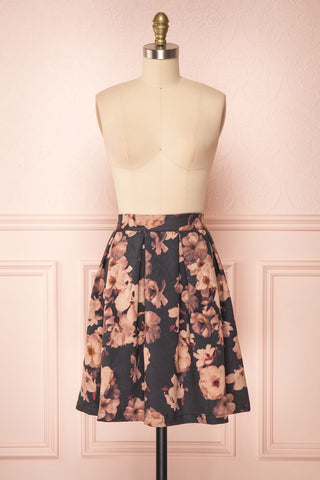 Syntyche Grey Floral Short Faux Suede A-Line Skirt | FRONT VIEW | Boutique 1861
