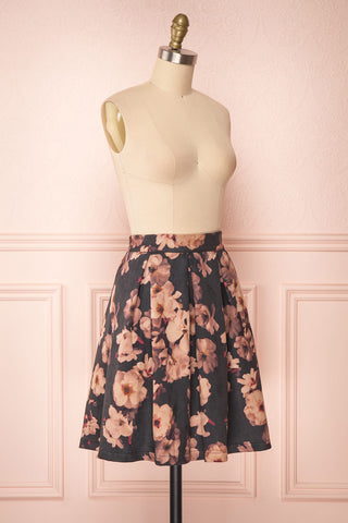 Syntyche Grey Floral Short Faux Suede A-Line Skirt | SIDE VIEW | Boutique 1861