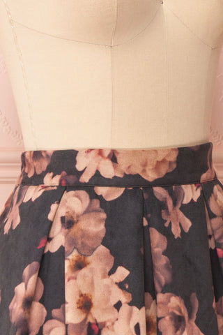 Syntyche Grey Floral Short Faux Suede A-Line Skirt | SIDE CLOSE UP | Boutique 1861