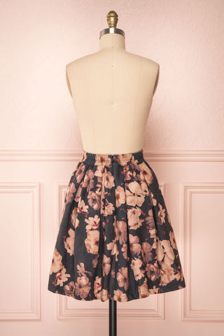Syntyche Grey Floral Short Faux Suede A-Line Skirt | BACK VIEW | Boutique 1861