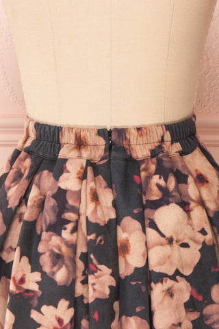 Syntyche Grey Floral Short Faux Suede A-Line Skirt| BACK CLOSE UP | Boutique 1861