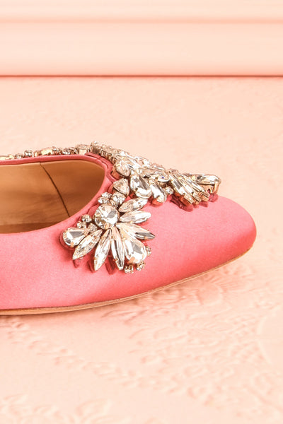 Taclet Pink Low Heel Slingback Shoes with Crystals | Boudoir 1861 7