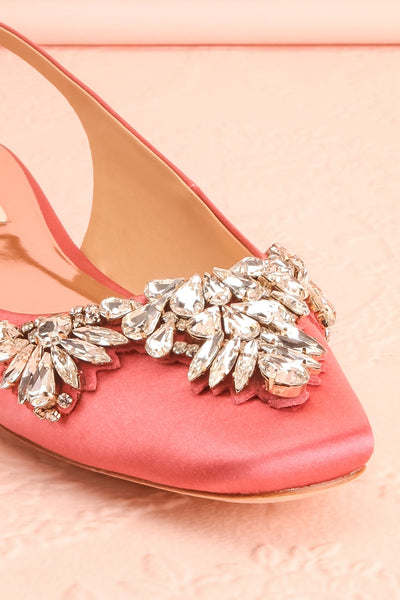 Taclet Pink Low Heel Slingback Shoes with Crystals | Boudoir 1861 4