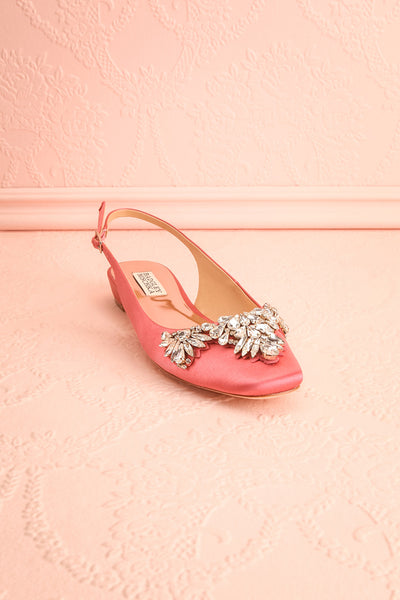 Taclet Pink Low Heel Slingback Shoes with Crystals | Boudoir 1861 3