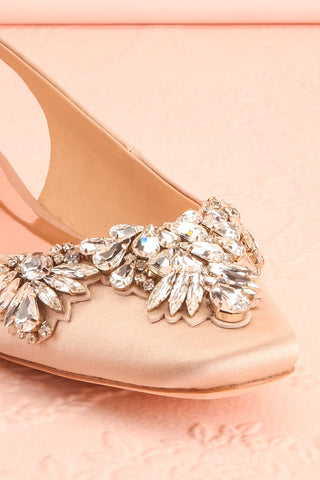 Taclet Tan Low Heel Slingback Shoes with Crystals | Boudoir 1861 4