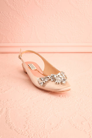 Taclet Tan Low Heel Slingback Shoes with Crystals | Boudoir 1861 3