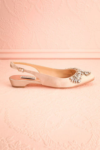 Taclet Tan Low Heel Slingback Shoes with Crystals | Boudoir 1861 5
