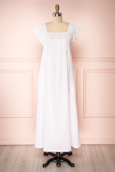 Taimai White Maxi Tunic Dress with Crocheted Lace | Boutique 1861