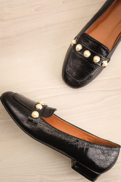Tainate Black Patent Faux Leather Loafers | La Petite Garçonne 1