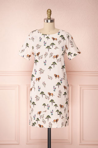 Takahama Pink Animals & Floral Print Summer Dress | Boutique 1861