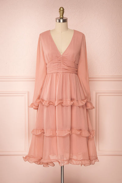 Tamara Dusty Pink A-Line Midi Dress | Boutique 1861