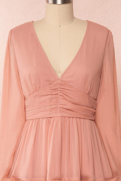 Tamara Dusty Pink A-Line Midi Dress with Ruffles | Boutique 1861 front close-up