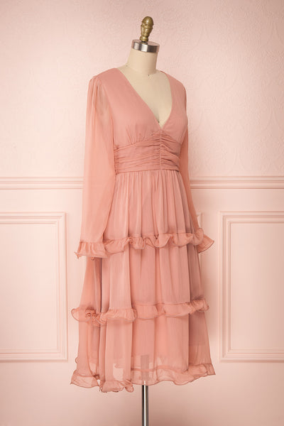 Tamara Dusty Pink A-Line Midi Dress with Ruffles | Boutique 1861 side view