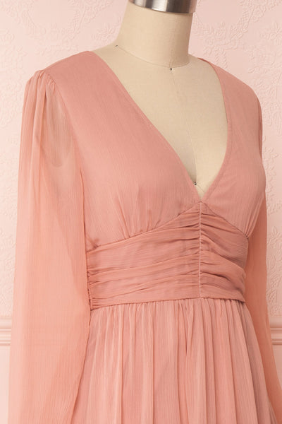 Tamara Dusty Pink A-Line Midi Dress with Ruffles | Boutique 1861 side close-up