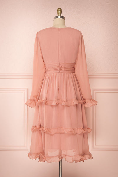Tamara Dusty Pink A-Line Midi Dress with Ruffles | Boutique 1861 back view