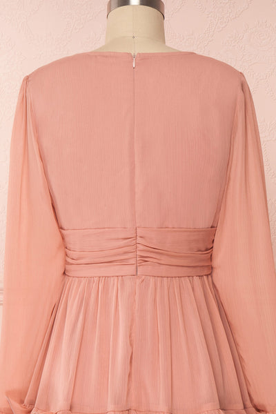 Tamara Dusty Pink A-Line Midi Dress with Ruffles | Boutique 1861 back close-up