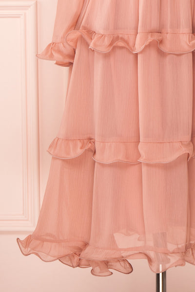Tamara Dusty Pink A-Line Midi Dress with Ruffles | Boutique 1861 bottom close-up