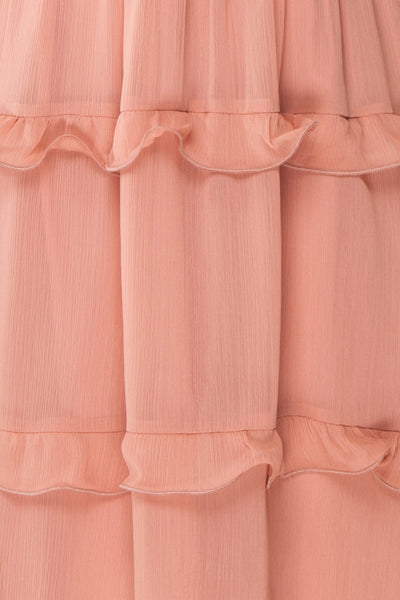 Tamara Dusty Pink A-Line Midi Dress with Ruffles | Boutique 1861 fabric detail