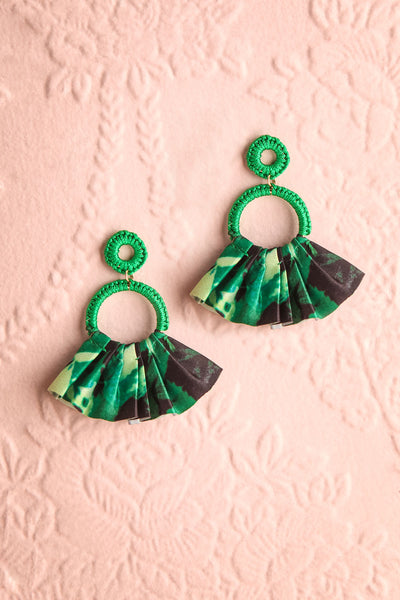 Tamura Menthe Green Floral Fan Pendant Earrings | Boutique 1861