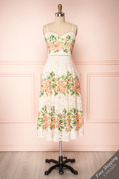 Tandil Ivory Lace Floral Printed A-Line Cocktail Dress | Boutique 1861