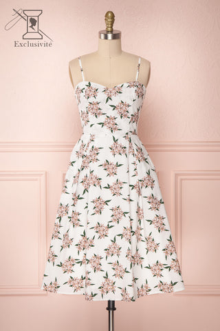 Taraina White Floral A-Line Cocktail Dress | Boutique 1861