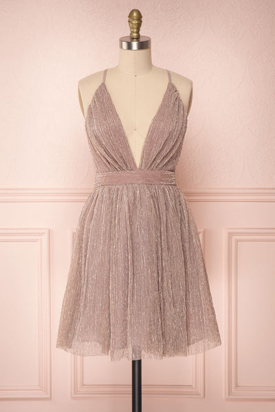 Tateyama Lilac Sparkly Short Mesh A-Line Dress | Boutique 1861